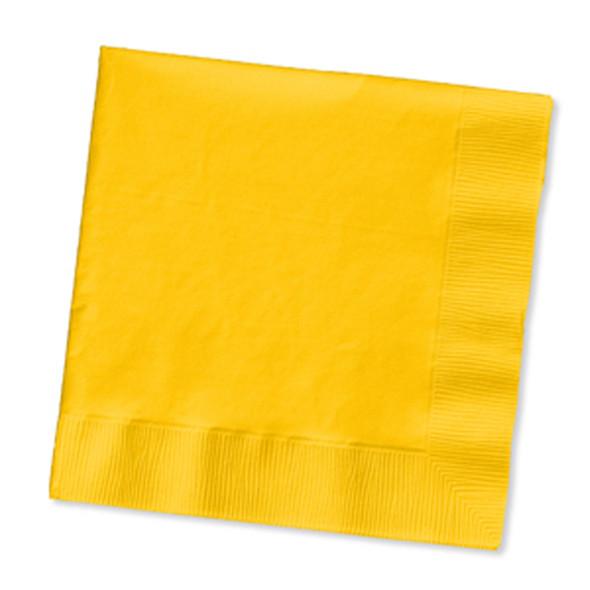 Solid Color Beverage Napkin, School Bus Yellow, 50 Ct - 1 Pkg
