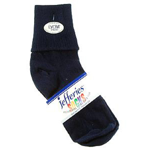Ladies Cotton Cuff Anklet Sock, Navy - 1 Pair