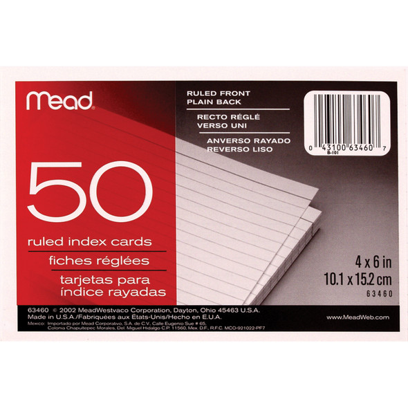 "Ruled Index Card, 50Ct. 4X6"" - 1 Pkg"