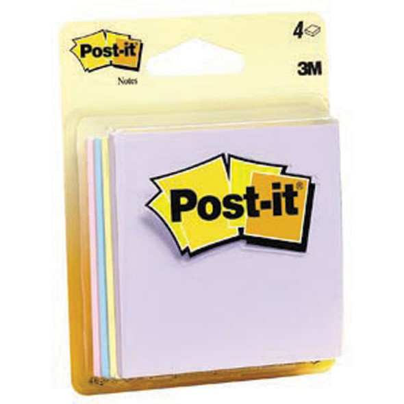 "Post It Note Pad, Assorted - 3x3"", 4 pads of 50"