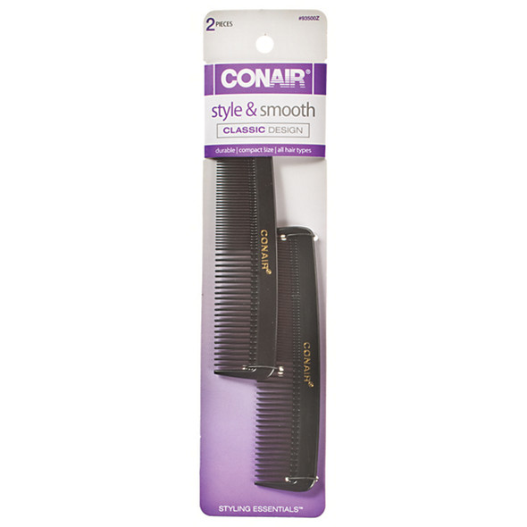 Pocket Combs-Hard Rubber, Black, 2 Ct - 1 Pkg