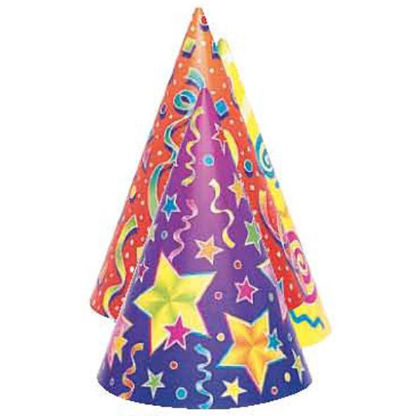 Kaleidoscope Hats, Party Favors, Asst, 6 Ct - 1 Pkg