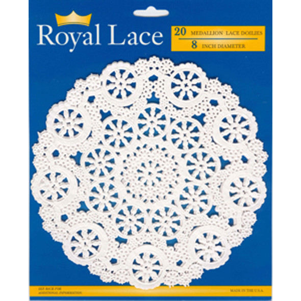 "Royal Lace Doilies, White, 8"" - 1 Pkg"