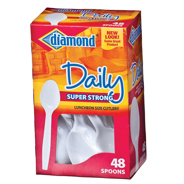 Heavy Duty Plastic Spoon Utensils, White, 48 Ct - 1 Box