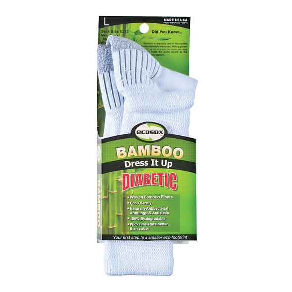Diabetic Bamboo Crew Sock, White/Grey - 1 Pkg