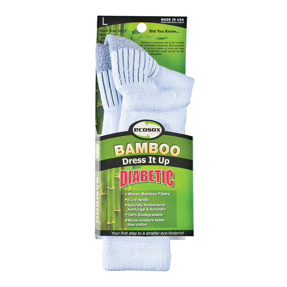 Diabetic Bamboo Crew Sock, White/Grey - 1 Pkg