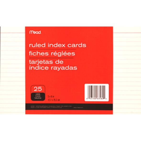 "Ruled Index Card, White 25 ct. 5X8"" - 1 Pkg"