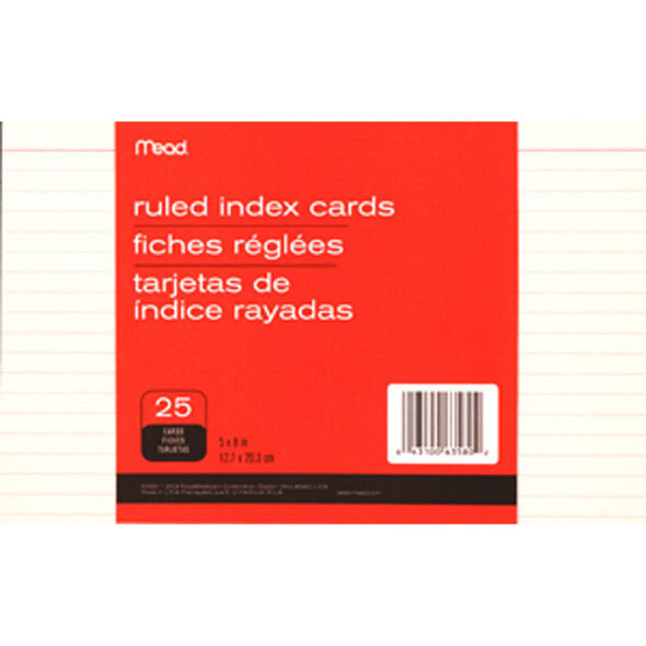 "Ruled Index Card, White 25 ct. 5X8"" - 1 Pkg"