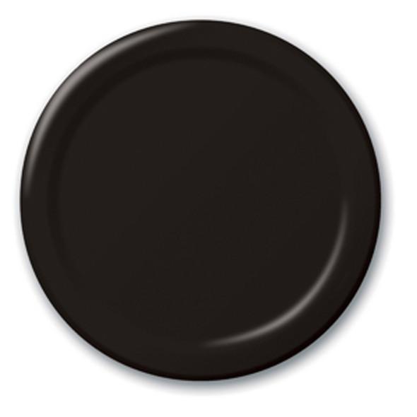 "Solid Color Luncheon Plate, Black, 7"" - 1 Pkg"