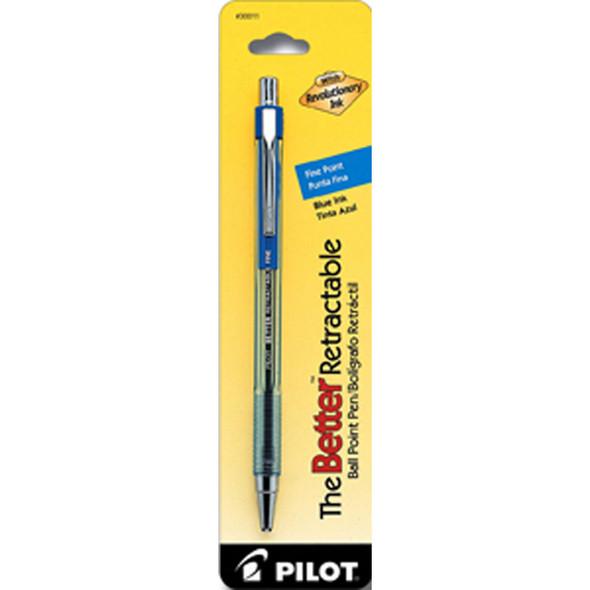 Better Retractable Ball Point Pen, Blue, Fine - 1 Pkg