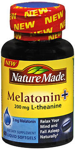 Nature Made Melatonin + 200 mg L-Theanine - 60 Liquid Softgels