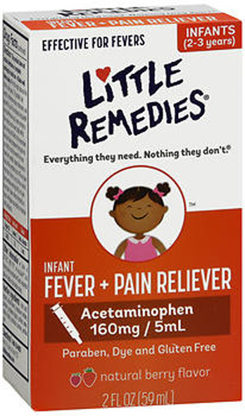 Little Remedies Infant Fever + Pain Reliever Natural Berry Flavor - 2 oz