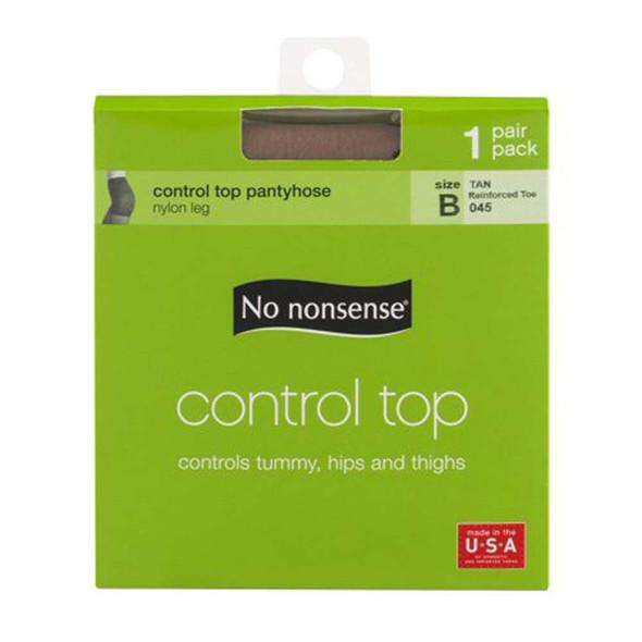 Control Top Panty Hose, Tan, B - 1 pkg