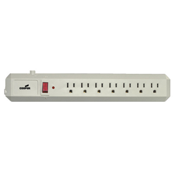 6 Outlet Power Strip Surge Guard W/ Switch, Ivory - 1 Pkg
