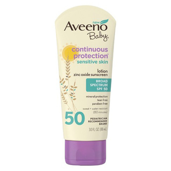 Aveeno Baby Continuous Protection Lotion Sunscreen SPF 50 - 3 oz