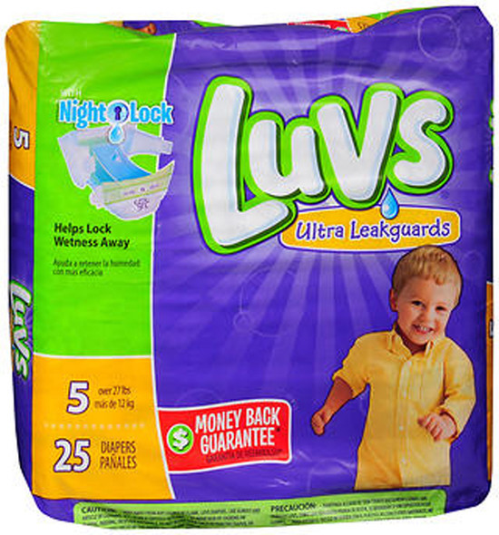 Luvs Ultra Leakguards Diapers Size 5 - 4 packs of 25