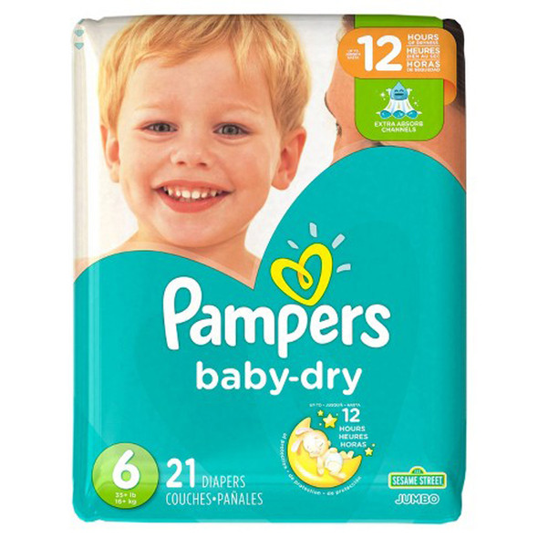 Pampers Baby Dry Diapers Size 6, 35+ lb - 4 packs of 21