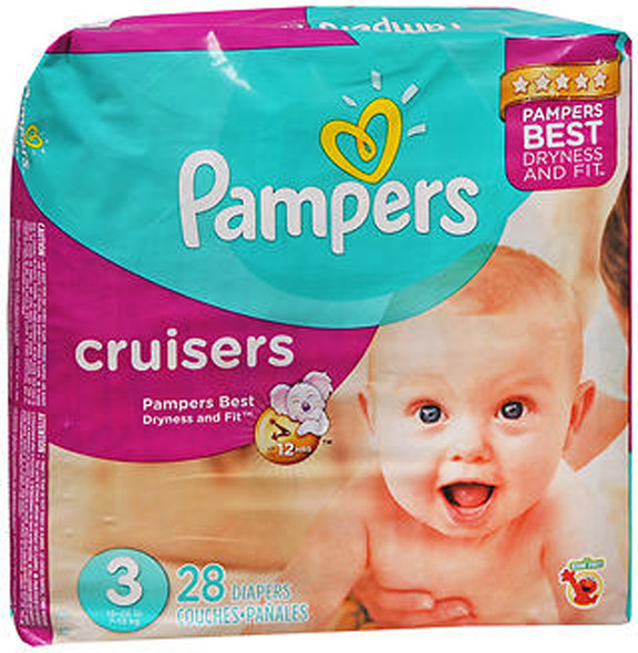 Pampers Cruisers Diapers Size 3, 16-28 lb - 4 packs of 28