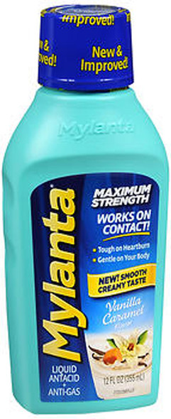 Mylanta Maximum Strength Liquid Antacid + Anti-Gas Vanilla Caramel Flavor - 12 oz