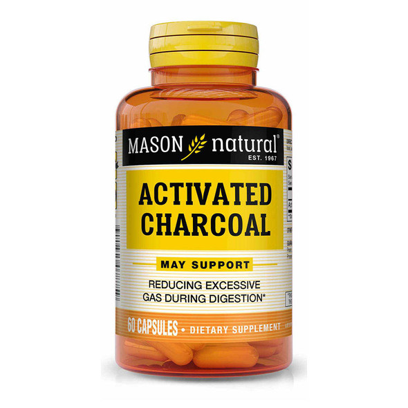 Mason Natural Activated Vegetable Charcoal - 60 Capsules