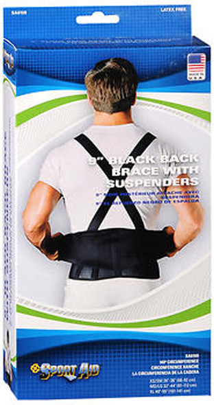 Sport Aid Back Brace with Suspenders XL Black - Each