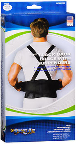 Sport Aid 9 in Black Back Brace with Suspenders MD/LG - Each