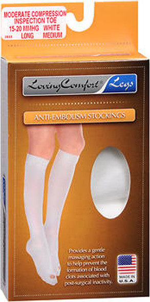 Loving Anti-Embolism Stockings Moderate Compression Open Toe White Medium Long - each