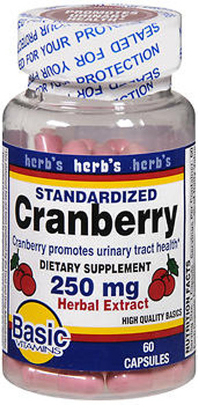 Basic Vitamins Cranberry 250 mg Herbal Extract Capsules - 60 ct
