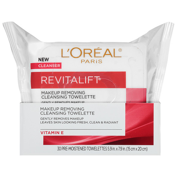 L'Oreal RevitaLift Radiant Smoothing Wet Cleansing Towelettes - 30 ea.