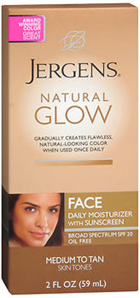 Jergens Natural Glow Daily Facial Moisturizer SPF 20 Medium To Tan Skin Tones - 2 oz