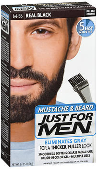 Just For Men Mustache & Beard Brush-In Color Gel Real Black M-55 - 1 ea