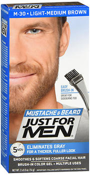 Just For Men Mustache & Beard Brush-In Color Gel Light-Medium Brown M-30 - 1 ea