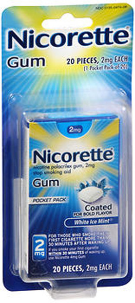 Nicorette Nicotine Polacrilex Gum 2 mg White Ice Mint - 20 ct