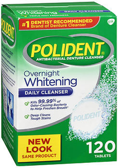 Polident Overnight Whitening Tablets - 120 ct