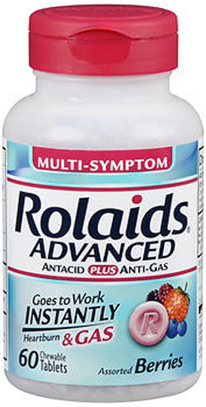 An image of a bottle of Rolaids Advanced Multi-Symptom antacids in assorted berry flavors that you can buy online from The Online Drugstore.