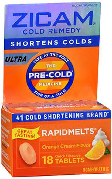 Zicam Ultra Cold Remedy RapidMelts Quick Dissolve Tablets Orange Cream Flavor - 18 ct