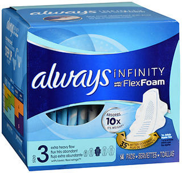 Always Infinity Pads With FlexFoam Size 3 Extra Heavy Flow - 14 each