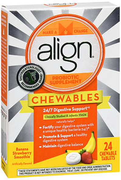 Align Probiotic Supplement Chewable Tablets Banana Strawberry - 24 ct