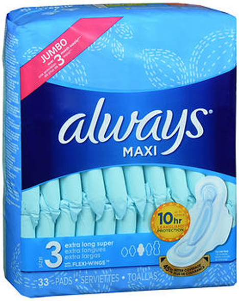Always Maxi Pads with Flexi-Wings Size 3 Jumbo Pack Extra Long Super - 33 ct