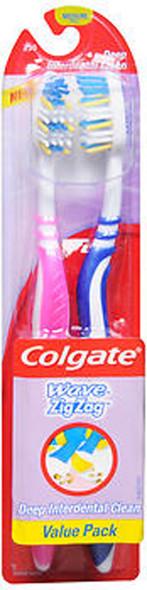 Colgate Wave Zig Zag Toothbrushes Medium Full Head Value Pack - 2 ea