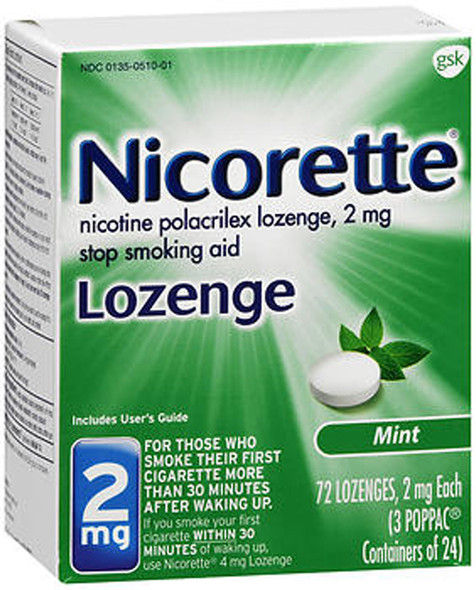 Nicorette Lozenges Stop Smoking Aid Mint 2 mg - 72 ct