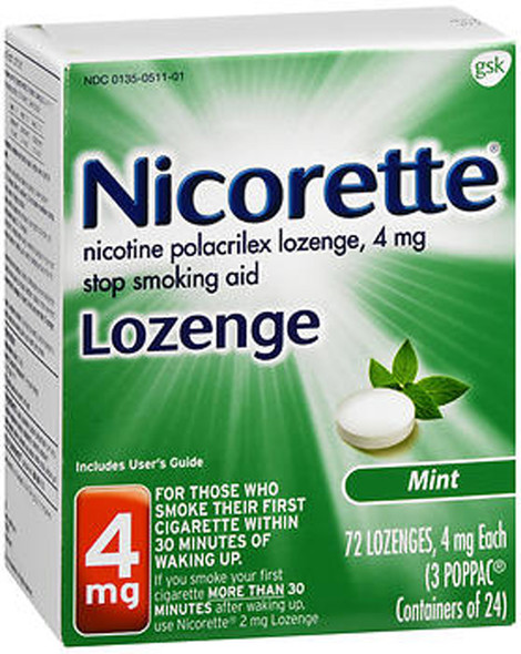 Nicorette Lozenges Stop Smoking Aid Mint 4 mg - 72 ct