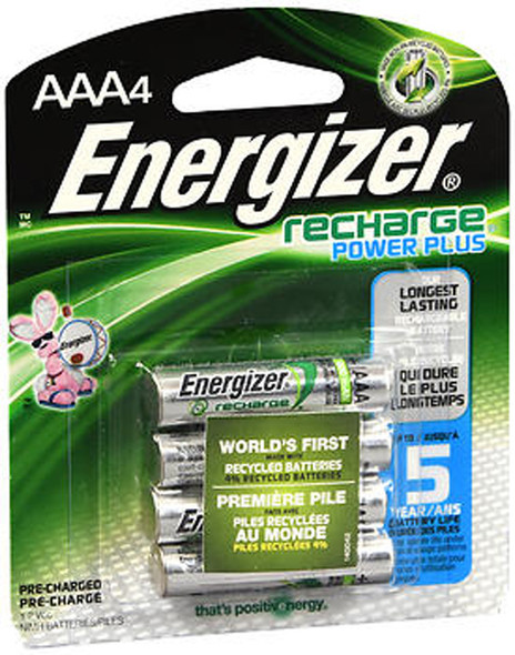 Energizer Recharge Power Plus Pre-Charged NiMH Batteries AAA - 4pk