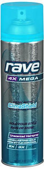 Rave 4X Mega Hairspray Unscented - 11 oz