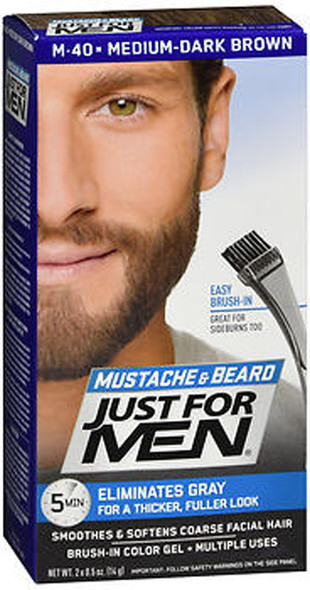 Just For Men Mustache & Beard Brush-In Color Gel Medium-Dark Brown M-40 - 1 ea