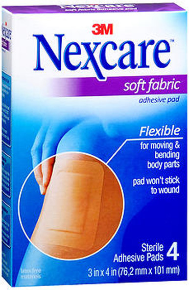 Nexcare Soft Fabric Adhesive Gauze Pad 3 Inches X 4 Inches - 4 ct