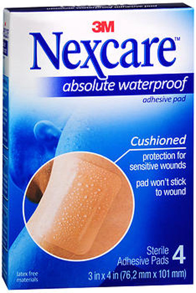 Nexcare Absolute Waterproof Adhesive Gauze Pad 3 Inches X 4 Inches - 4 ct