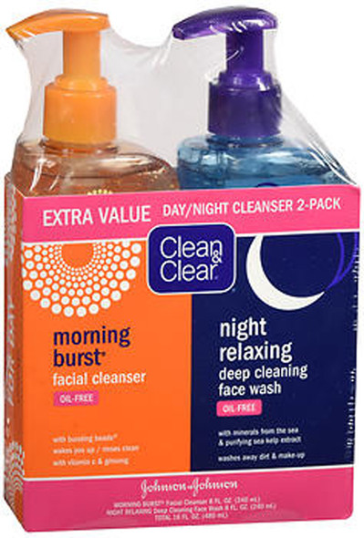 Clean & Clear Morning Burst Facial Cleanser & Night Relaxing Deep Cleaning Face Wash - 16 oz