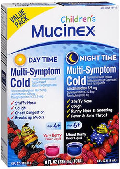 Mucinex Children's Daytime & Night Time Multi-Symptom Cold Liquid Very Berry & Mixed Berry - 8 oz