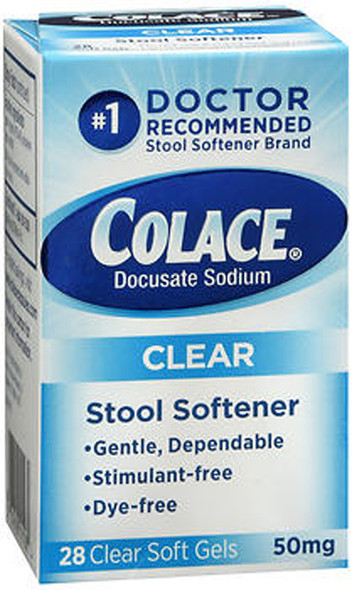 Colace Clear Stool Softener 50 mg - 28 Soft Gels